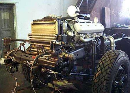 КамАЗ-5410: Установка двигателя ЯМЗ-238 и КПП ЯМЗ-236