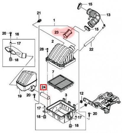 Схема системы впуска воздуха двигателя Daewoo Matiz
